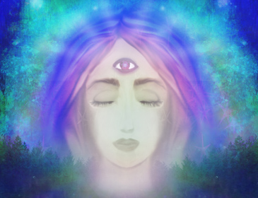 Illustration of a beautiful psychic woman with a third eye in the center of her forehead.
